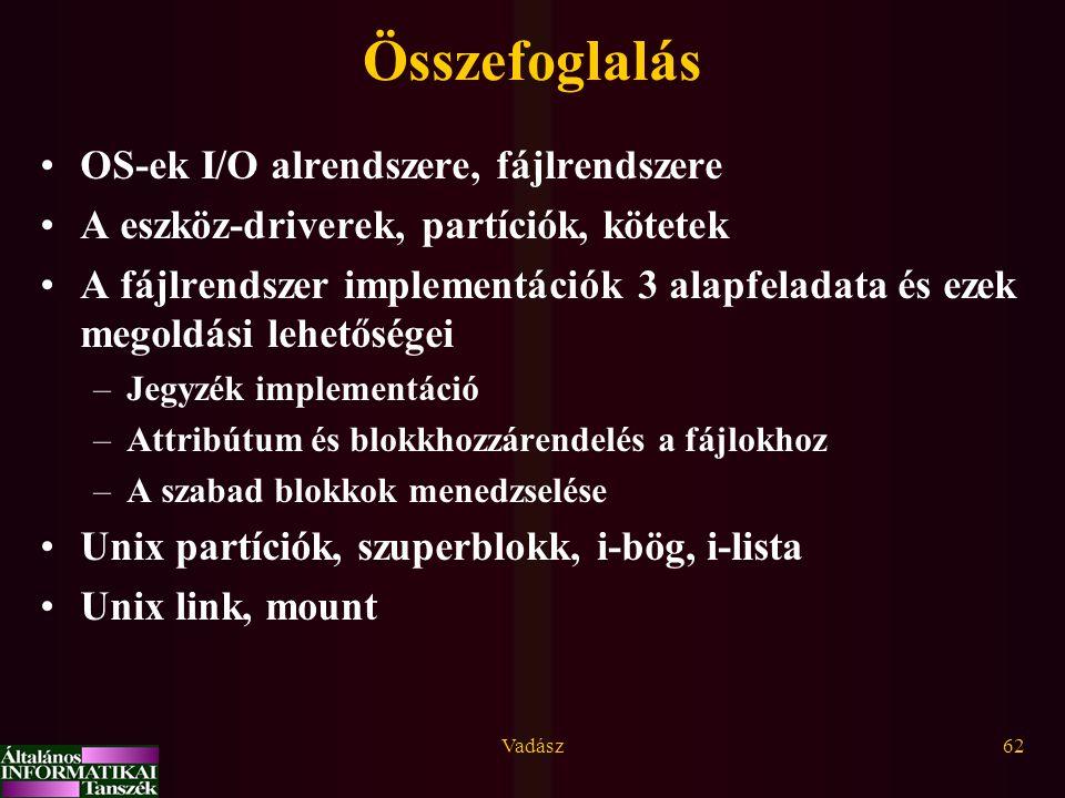 Összefoglalás OS-ek I/O alrendszere, fájlrendszere