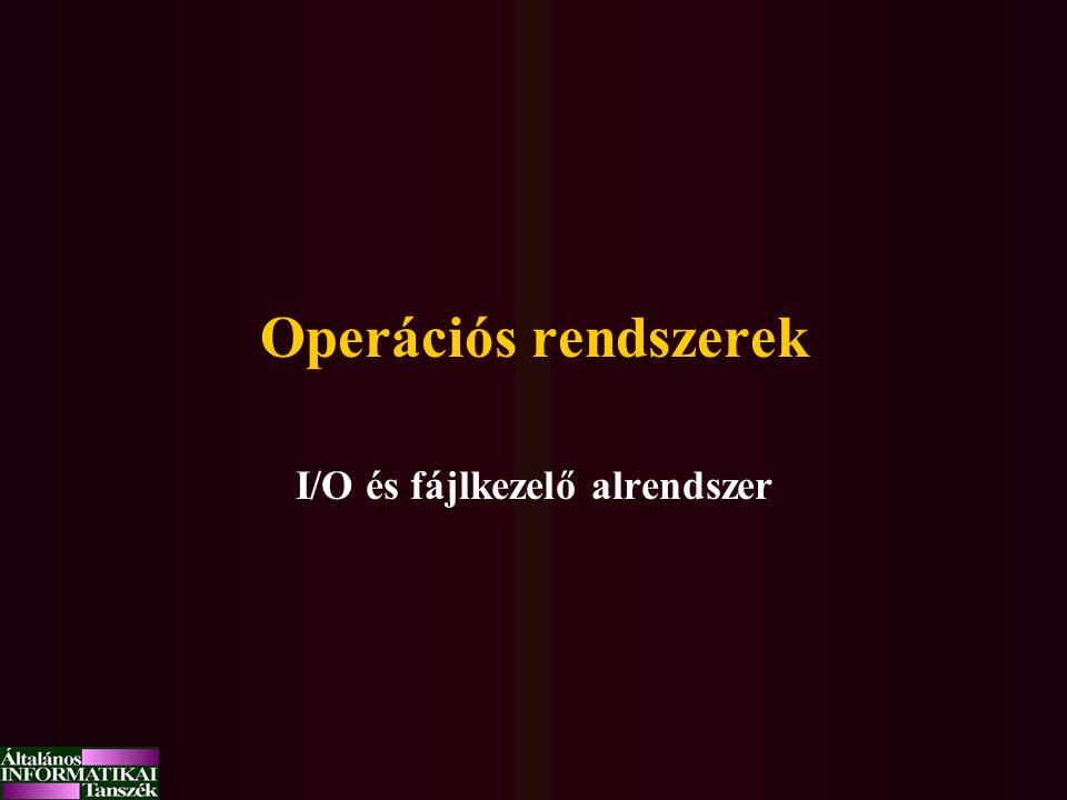 I/O és fájlkezelő alrendszer
