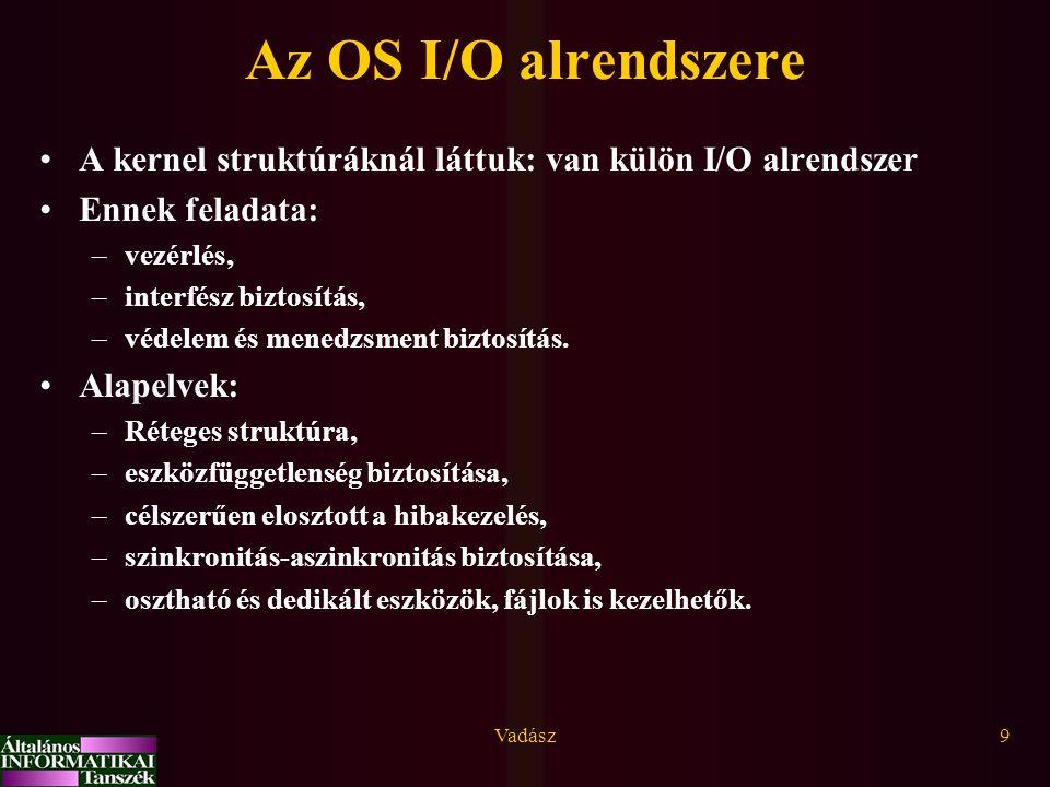 Az OS I/O alrendszere A kernel struktúráknál láttuk: van külön I/O alrendszer. Ennek feladata: vezérlés,