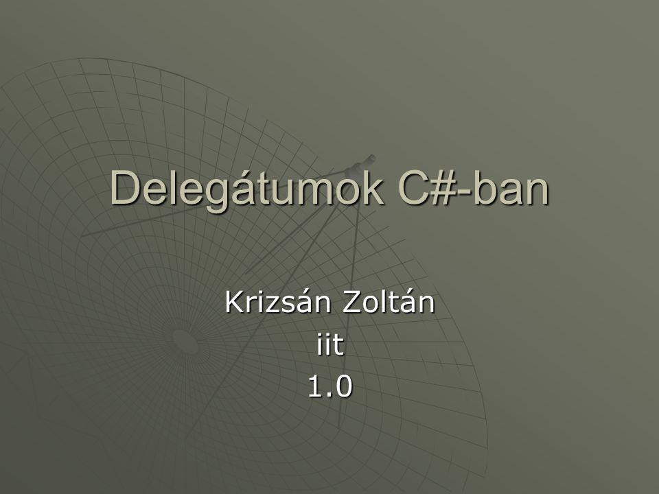 Delegátumok C#-ban Krizsán Zoltán iit 1.0