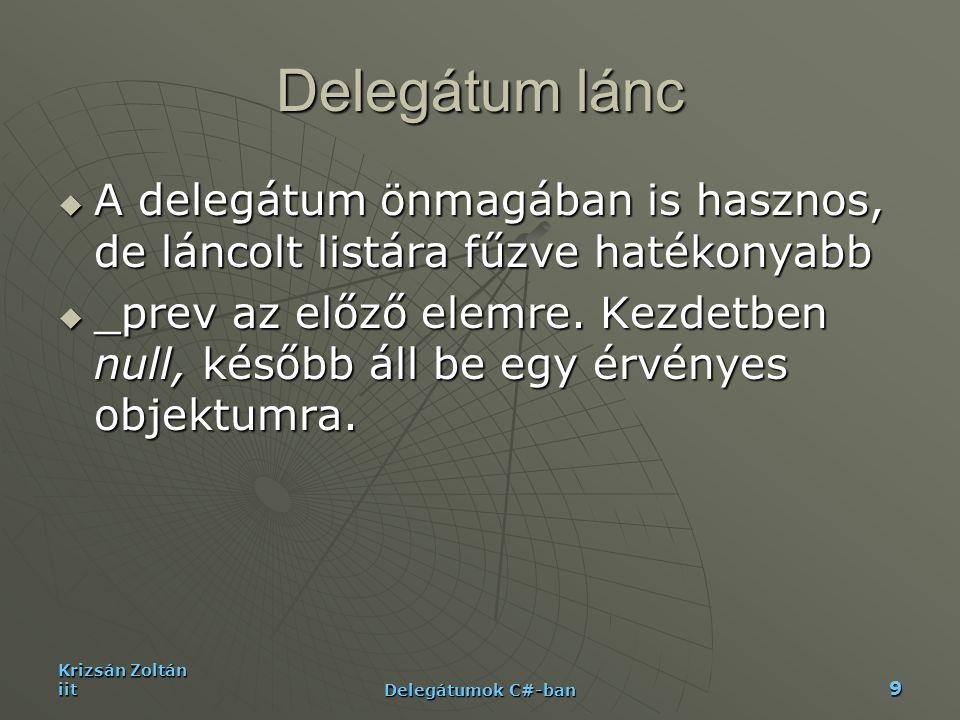 Delegátum lánc A delegátum önmagában is hasznos, de láncolt listára fűzve hatékonyabb.