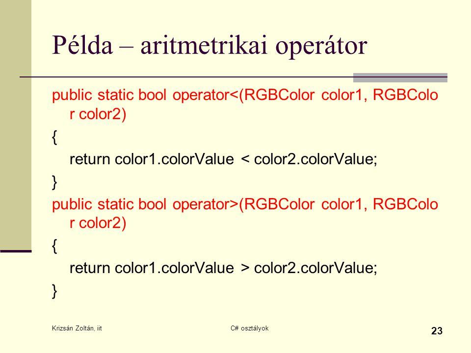 Példa – aritmetrikai operátor