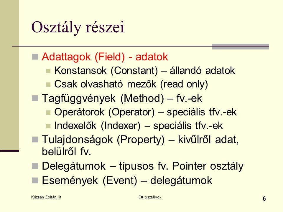 Osztály részei Adattagok (Field) - adatok