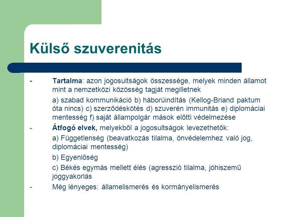 Külső szuverenitás - Tartalma: azon jogosultságok összessége, melyek minden államot mint a nemzetközi közösség tagját megilletnek.
