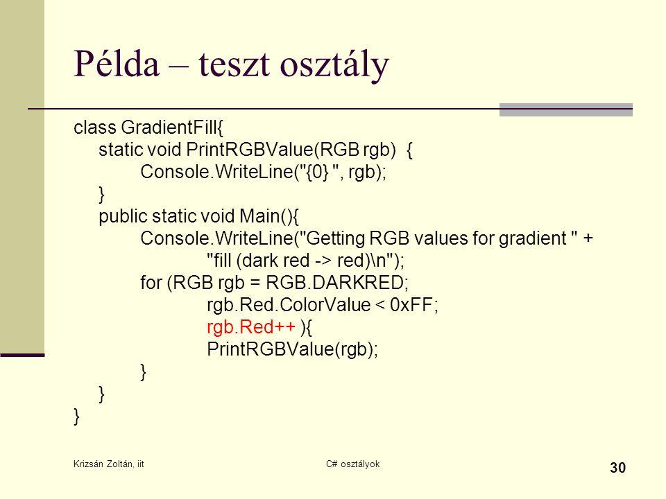 Példa – teszt osztály class GradientFill{