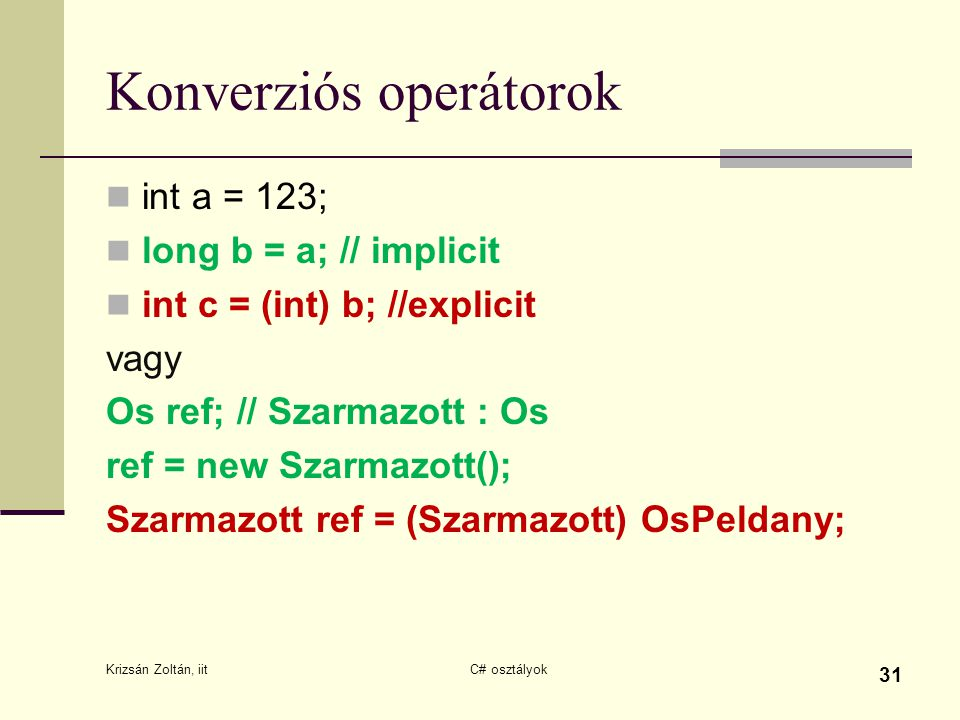 Konverziós operátorok