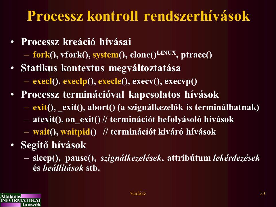 Processz kontroll rendszerhívások