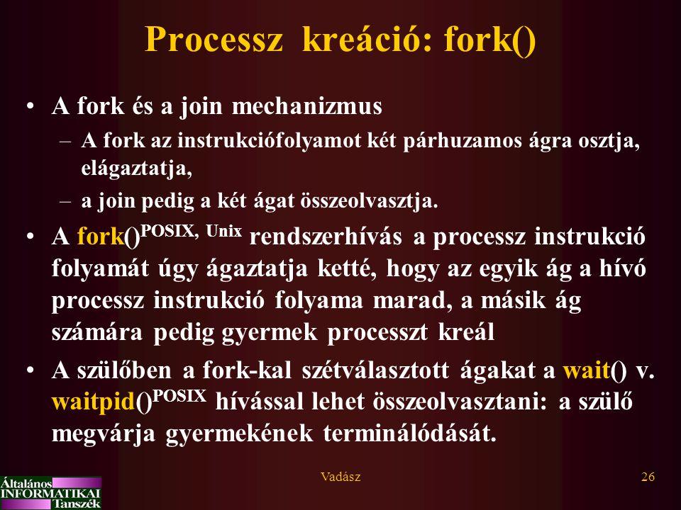 Processz kreáció: fork()