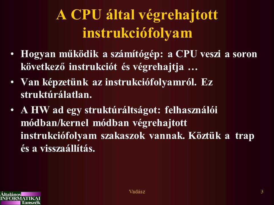 A CPU által végrehajtott instrukciófolyam
