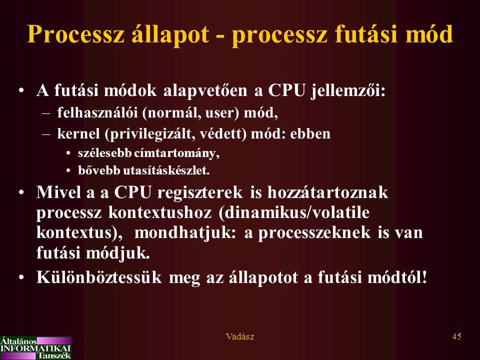 Processz állapot - processz futási mód