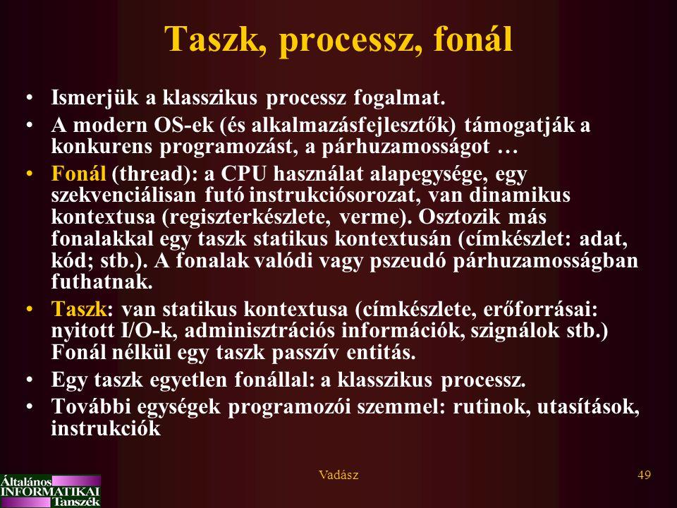 Taszk, processz, fonál Ismerjük a klasszikus processz fogalmat.