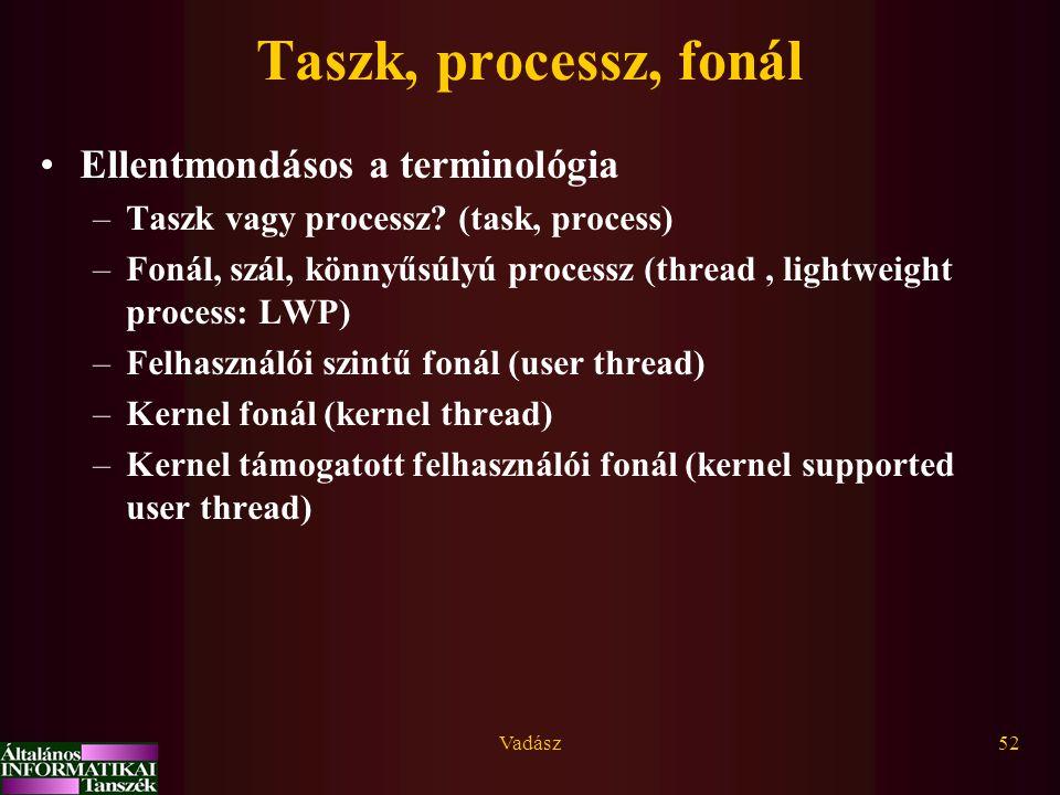 Taszk, processz, fonál Ellentmondásos a terminológia