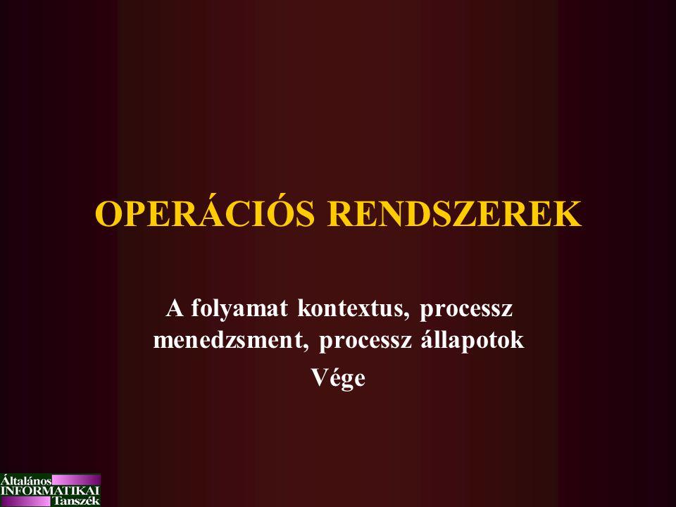 A folyamat kontextus, processz menedzsment, processz állapotok Vége