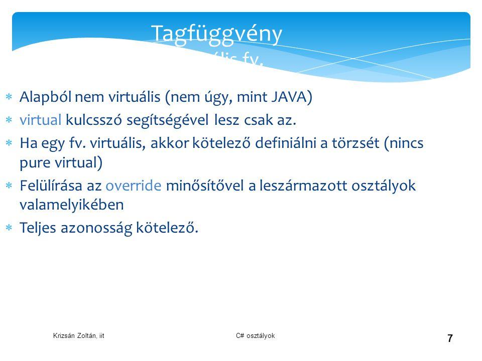 Tagfüggvény Virtuális fv.