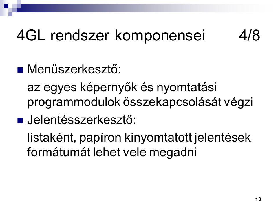 4GL rendszer komponensei 4/8
