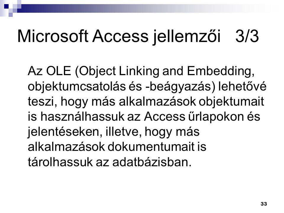 Microsoft Access jellemzői 3/3