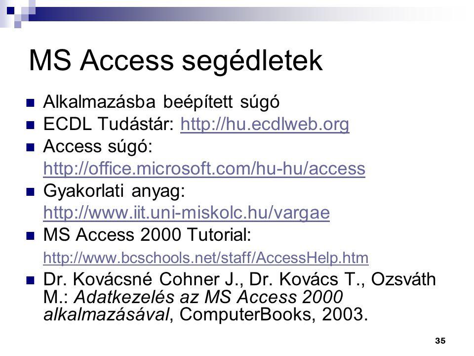 MS Access segédletek Alkalmazásba beépített súgó