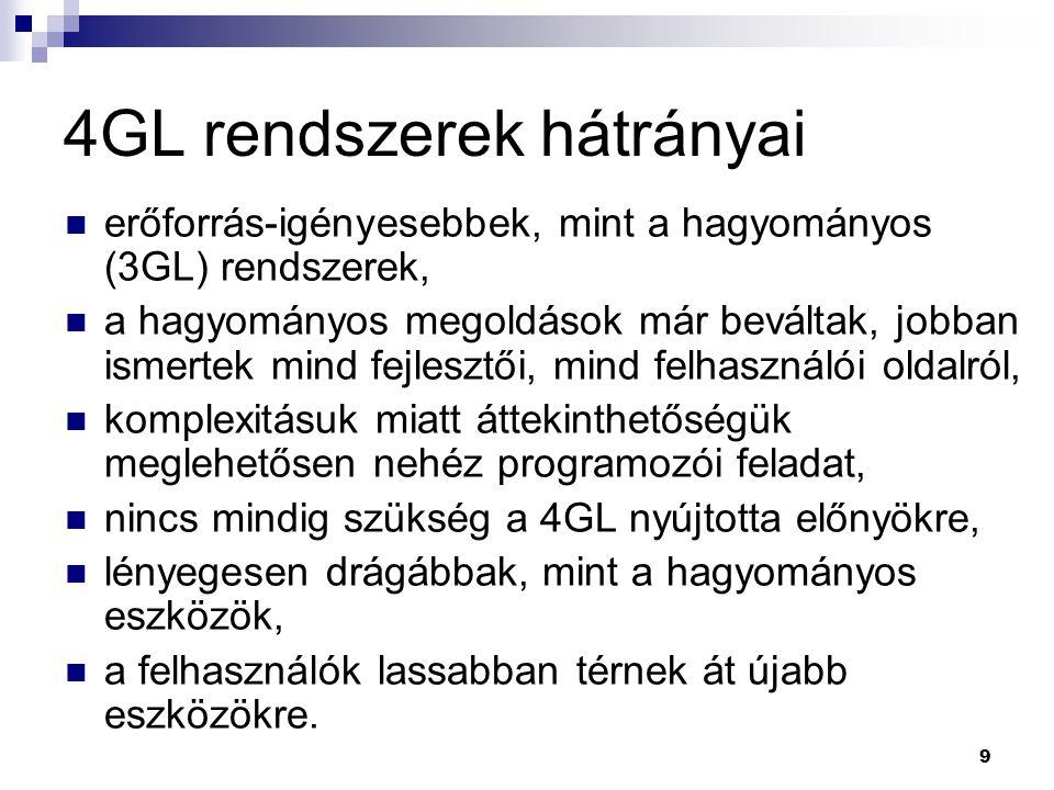 4GL rendszerek hátrányai