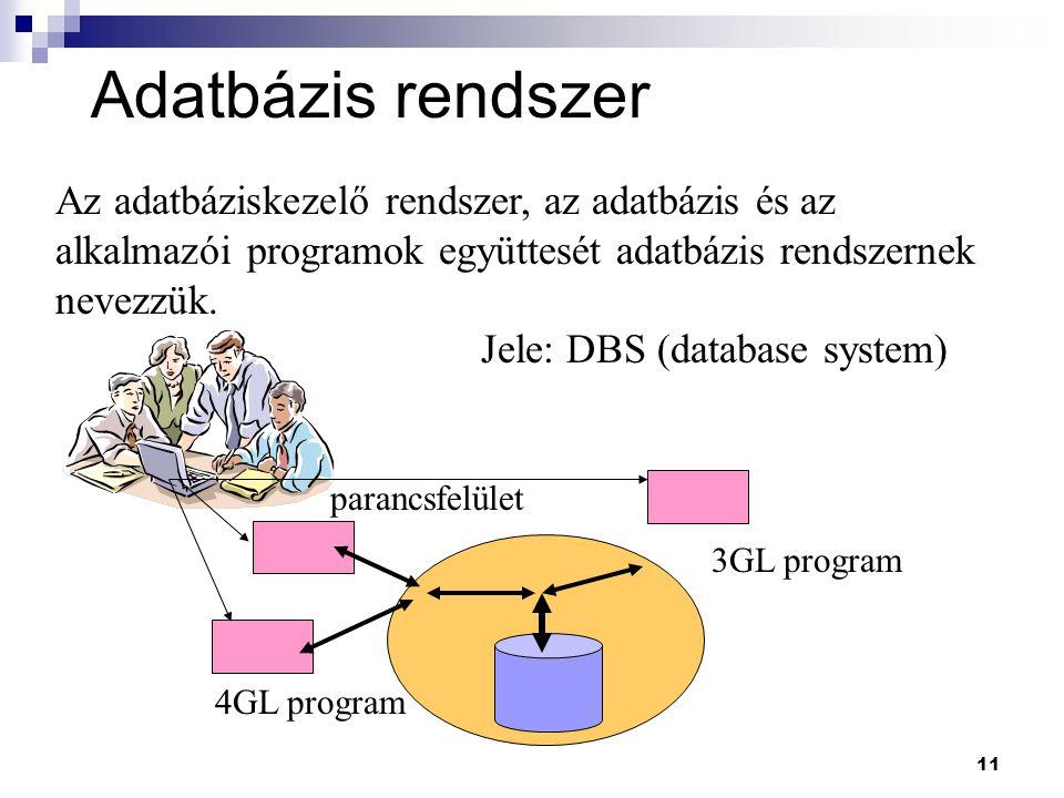 Adatbázis rendszer Az adatbáziskezelő rendszer, az adatbázis és az alkalmazói programok együttesét adatbázis rendszernek nevezzük.