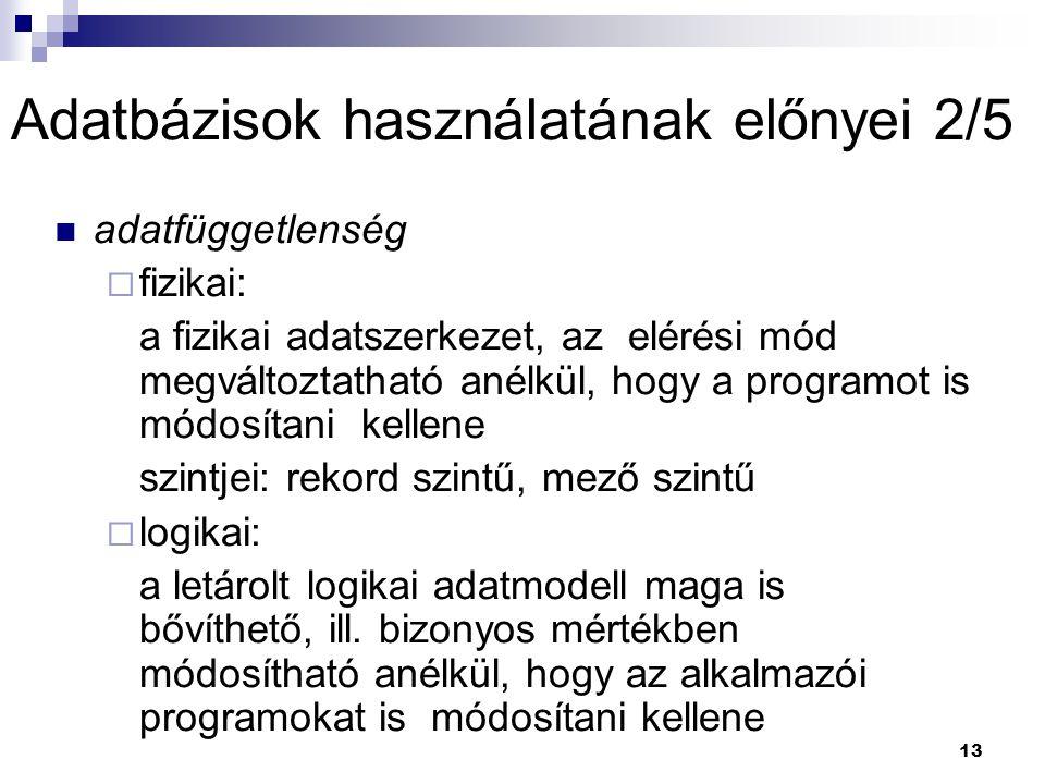 Adatbázisok használatának előnyei 2/5