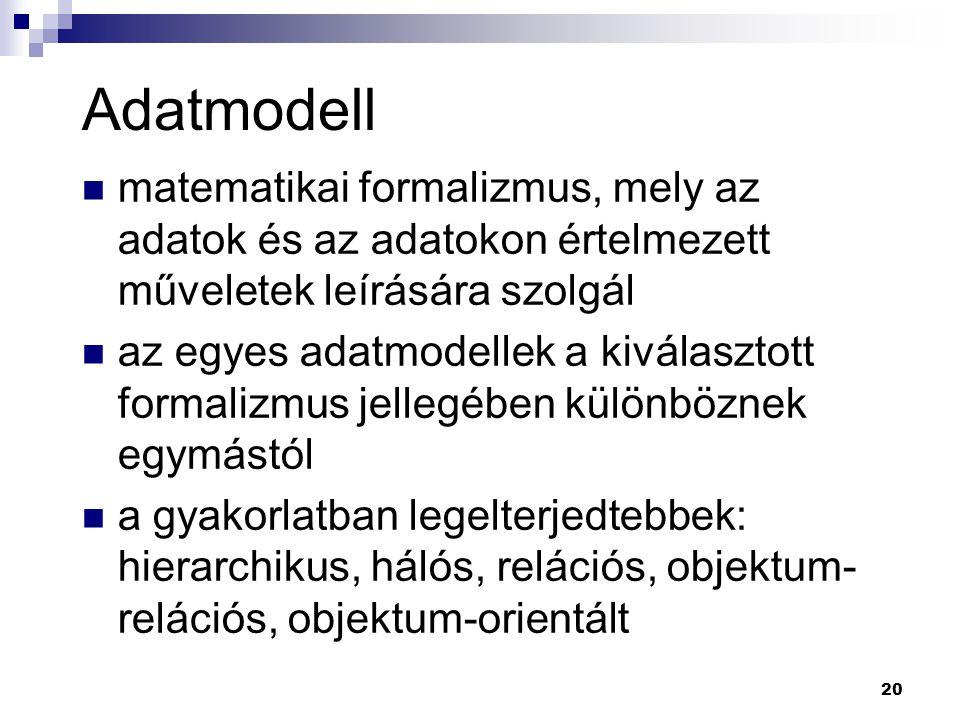Adatmodell matematikai formalizmus, mely az adatok és az adatokon értelmezett műveletek leírására szolgál.
