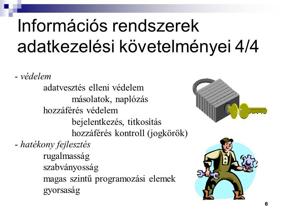Információs rendszerek adatkezelési követelményei 4/4