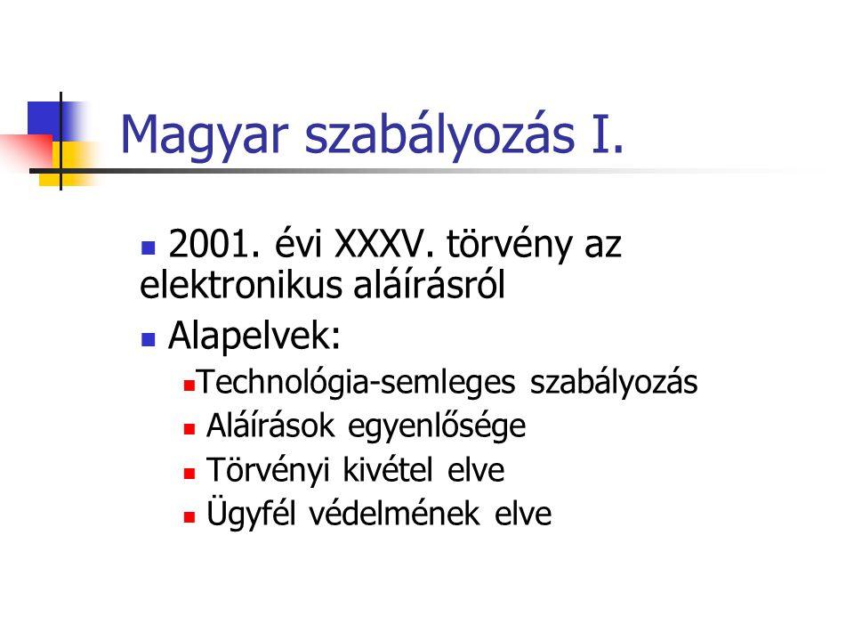 Magyar szabályozás I. 2001. évi XXXV. törvény az elektronikus aláírásról. Alapelvek: Technológia-semleges szabályozás.