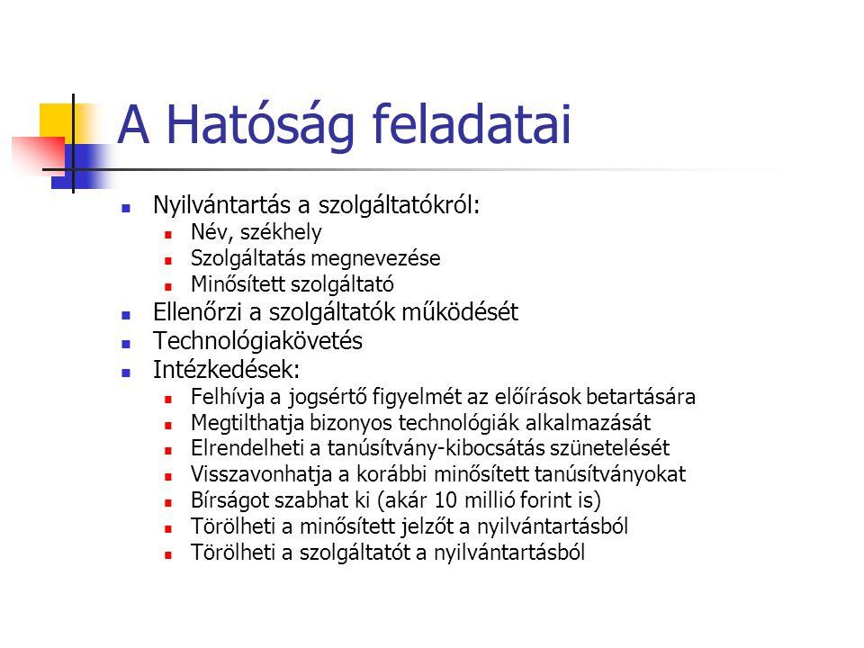 A Hatóság feladatai Nyilvántartás a szolgáltatókról: