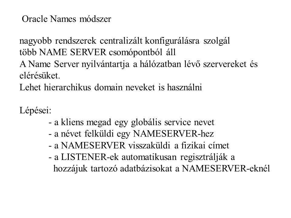 Oracle Names módszer nagyobb rendszerek centralizált konfigurálásra szolgál. több NAME SERVER csomópontból áll.