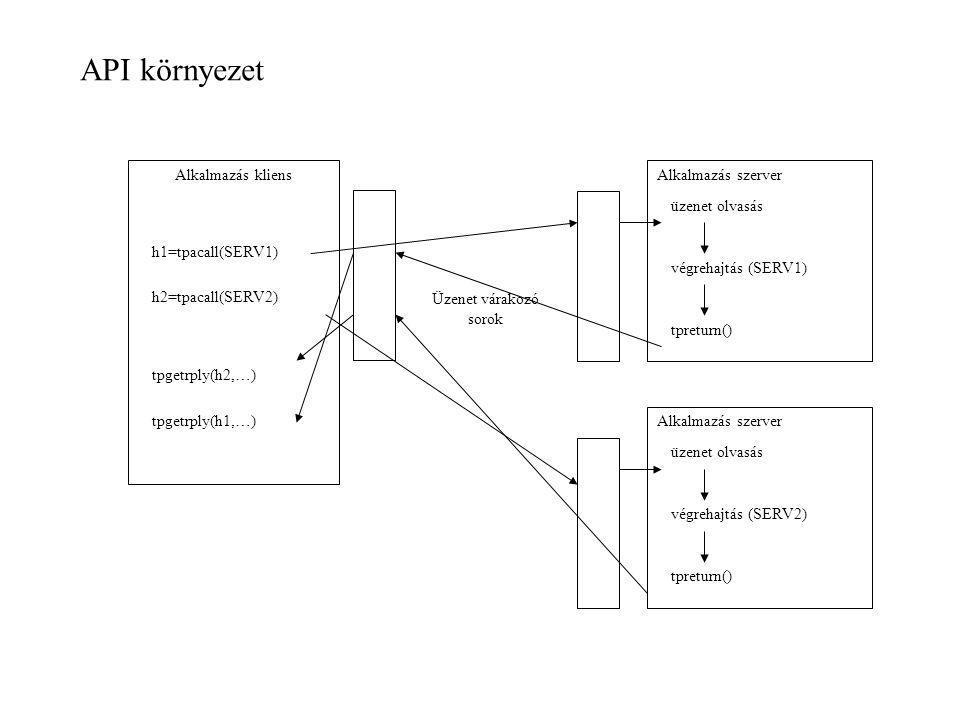 API környezet Alkalmazás kliens Alkalmazás szerver h1=tpacall(SERV1)