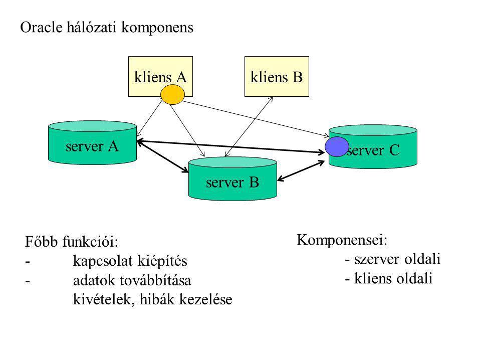 Oracle hálózati komponens