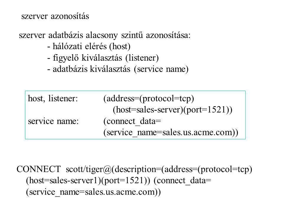 szerver azonosítás szerver adatbázis alacsony szintű azonosítása: - hálózati elérés (host) - figyelő kiválasztás (listener)