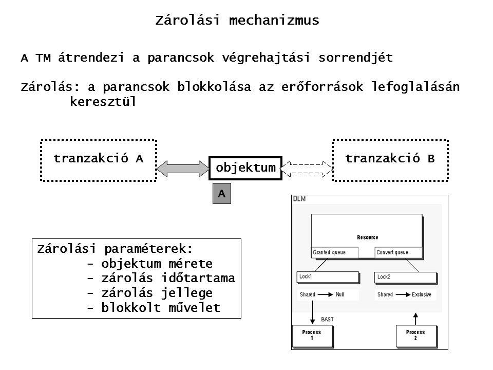 Zárolási mechanizmus A TM átrendezi a parancsok végrehajtási sorrendjét. Zárolás: a parancsok blokkolása az erőforrások lefoglalásán.
