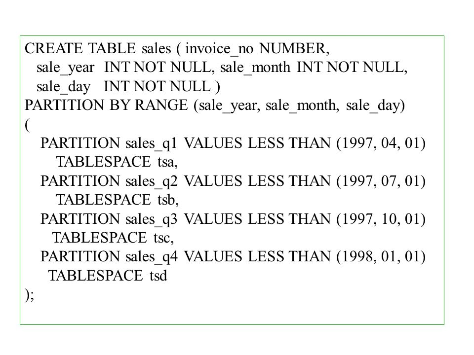 CREATE TABLE sales ( invoice_no NUMBER,