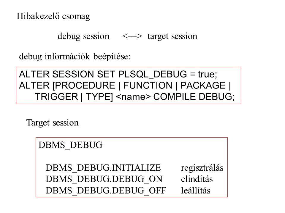 Hibakezelő csomag debug session <---> target session. debug információk beépítése: ALTER SESSION SET PLSQL_DEBUG = true;