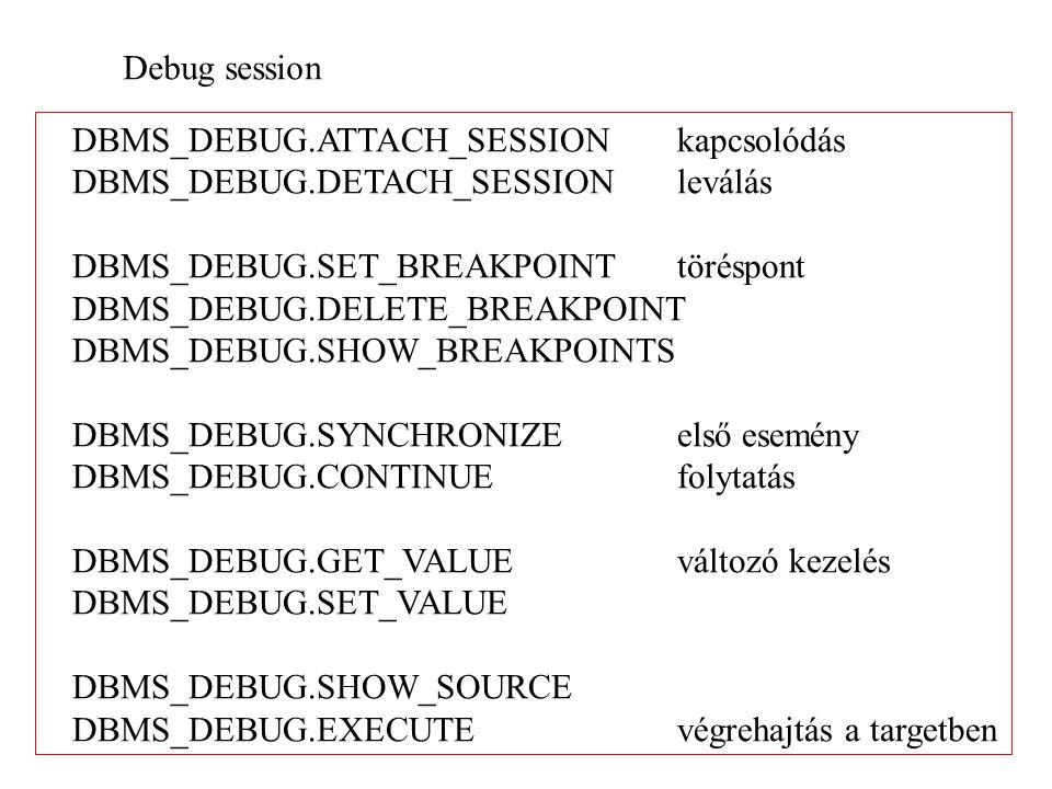 Debug session DBMS_DEBUG.ATTACH_SESSION kapcsolódás. DBMS_DEBUG.DETACH_SESSION leválás. DBMS_DEBUG.SET_BREAKPOINT töréspont.