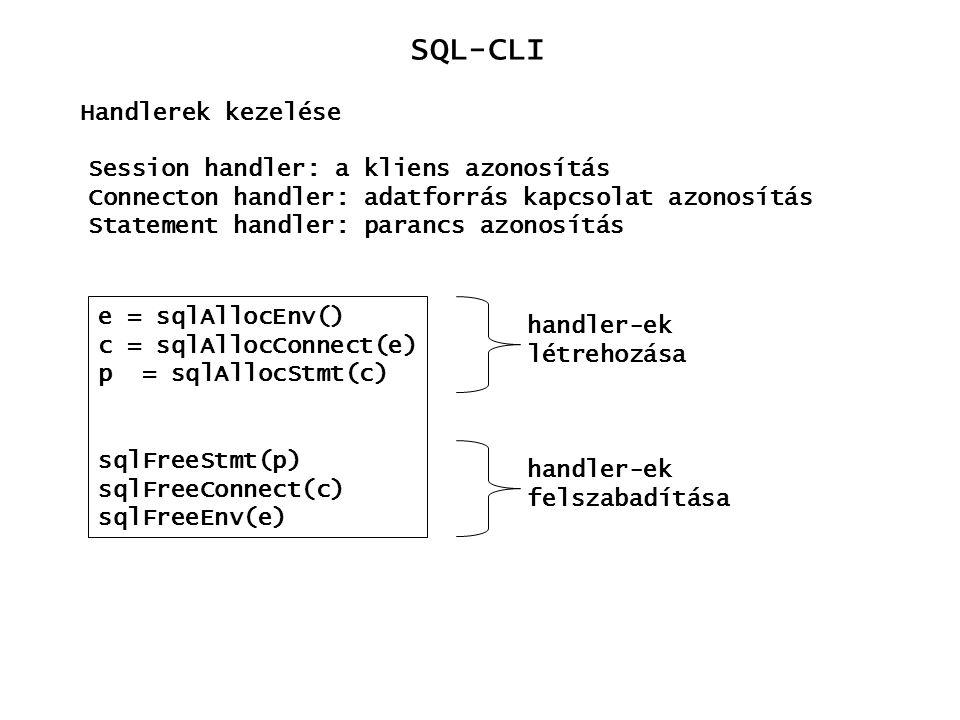SQL-CLI Handlerek kezelése Session handler: a kliens azonosítás