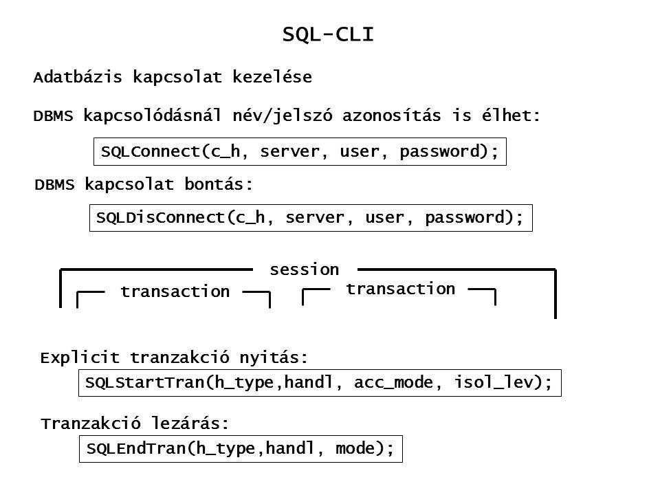 SQL-CLI Adatbázis kapcsolat kezelése
