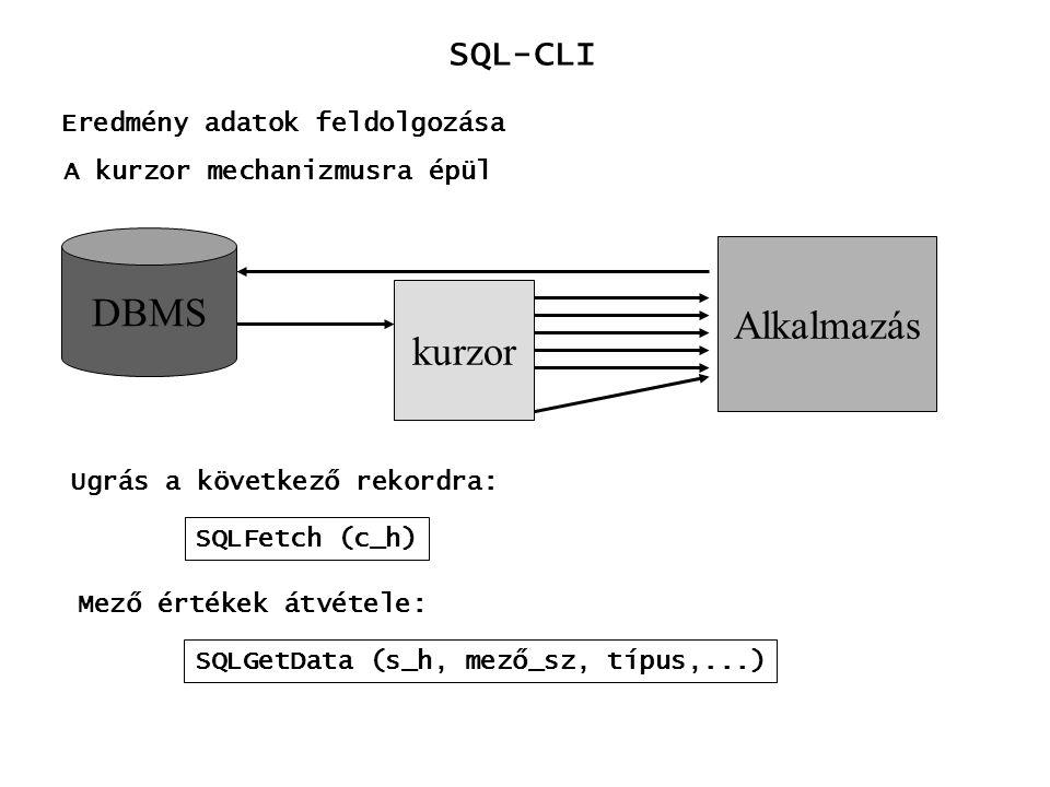 DBMS Alkalmazás kurzor SQL-CLI Eredmény adatok feldolgozása