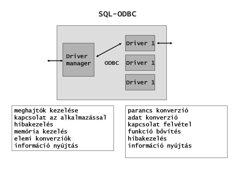 SQL-ODBC ODBC Driver 1 Driver manager Driver 1 Driver 1
