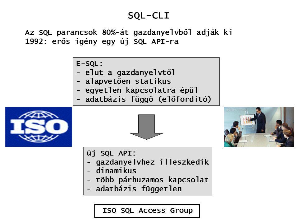 SQL-CLI Az SQL parancsok 80%-át gazdanyelvből adják ki