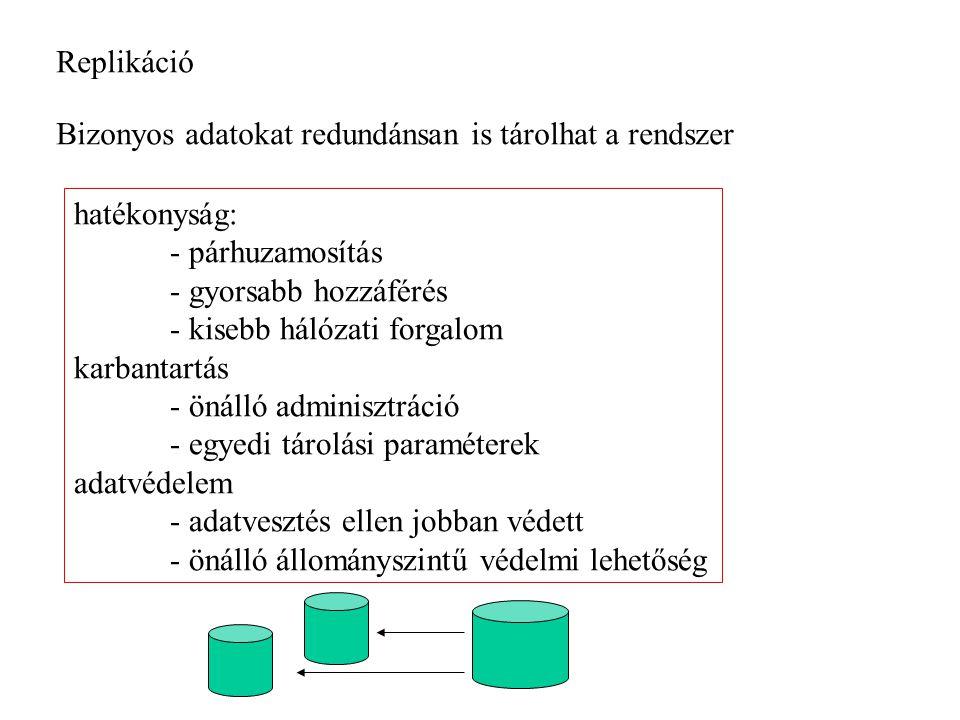 Replikáció Bizonyos adatokat redundánsan is tárolhat a rendszer. hatékonyság: - párhuzamosítás. - gyorsabb hozzáférés.