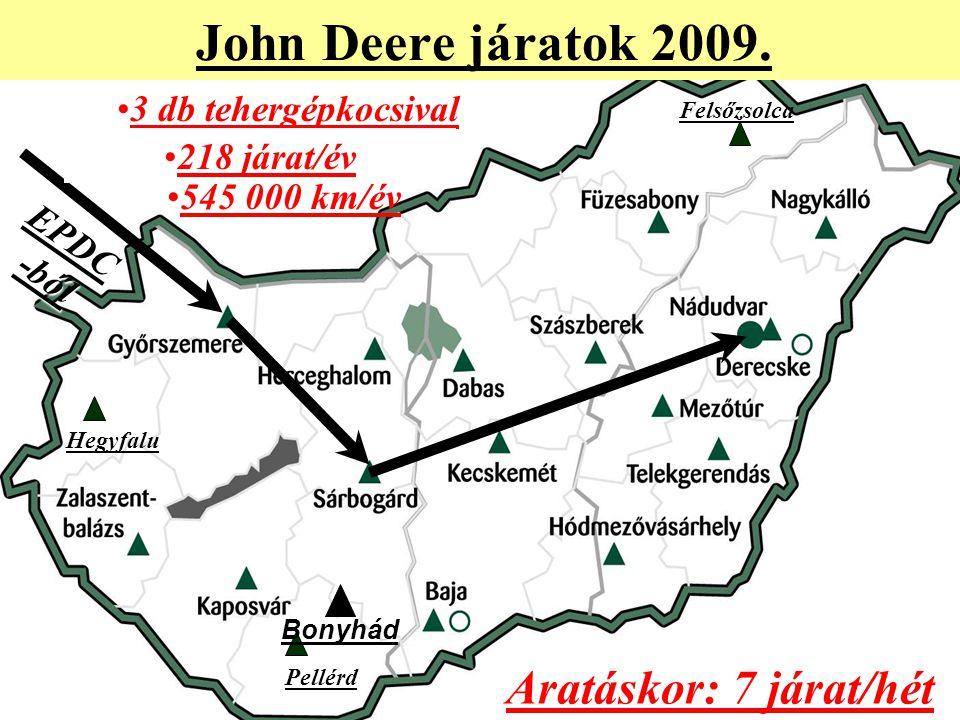 John Deere járatok 2009. Aratáskor: 7 járat/hét 3 db tehergépkocsival