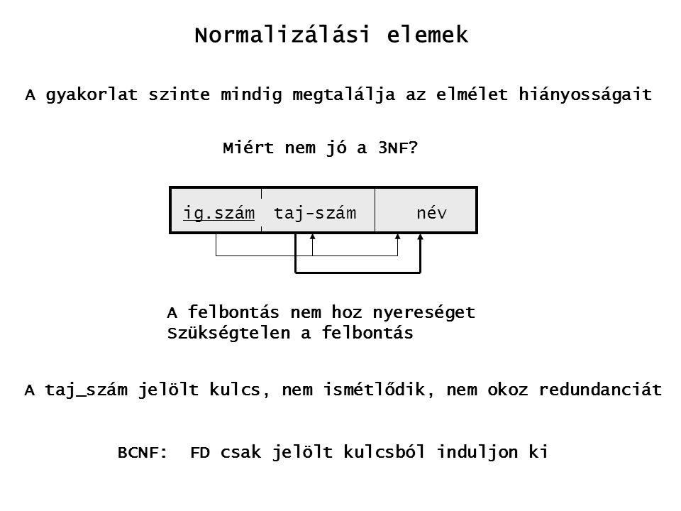 Normalizálási elemek A gyakorlat szinte mindig megtalálja az elmélet hiányosságait. Miért nem jó a 3NF