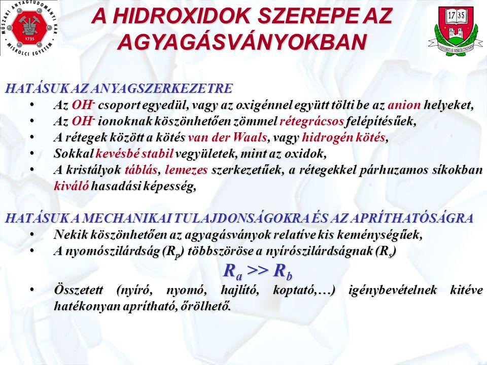 A HIDROXIDOK SZEREPE AZ AGYAGÁSVÁNYOKBAN