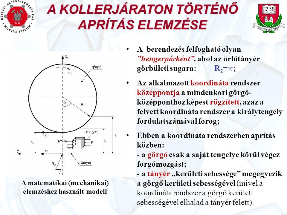 A KOLLERJÁRATON TÖRTÉNŐ APRÍTÁS ELEMZÉSE