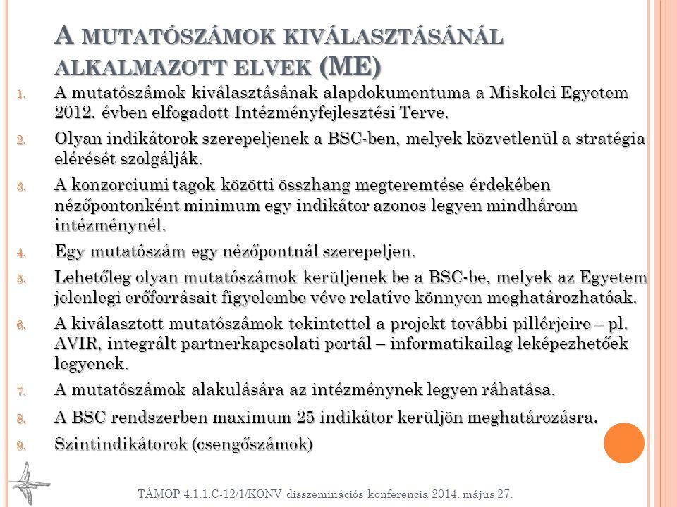 A mutatószámok kiválasztásánál alkalmazott elvek (ME)