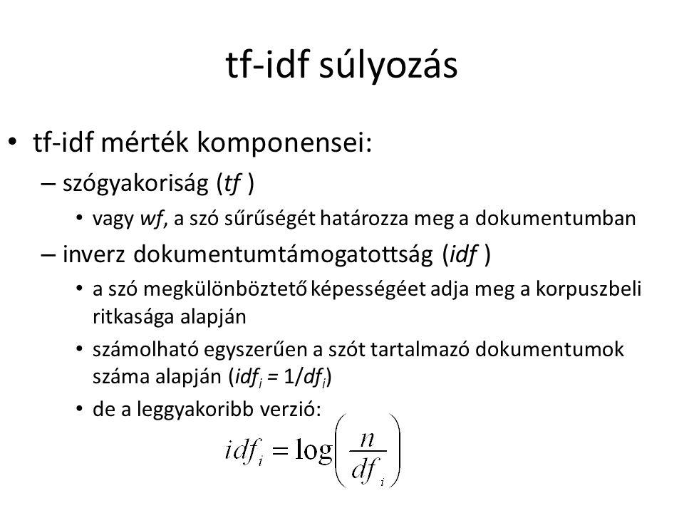 tf-idf súlyozás tf-idf mérték komponensei: szógyakoriság (tf )
