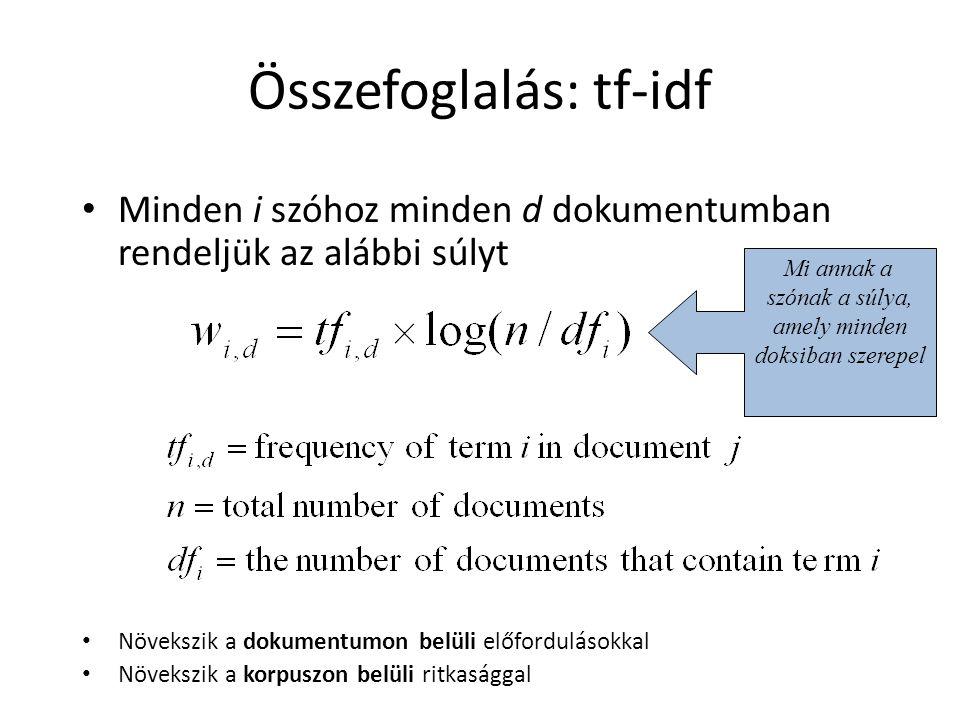 Összefoglalás: tf-idf