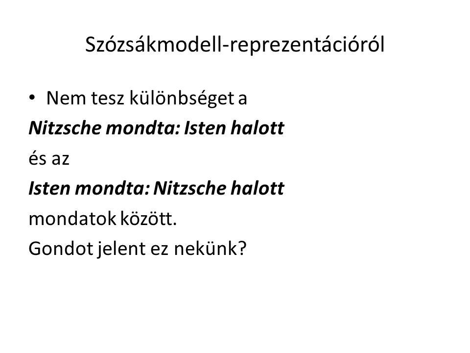 Szózsákmodell-reprezentációról